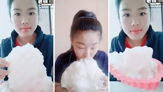 Eating a block of ice | crushed and reshaped white ice part 1