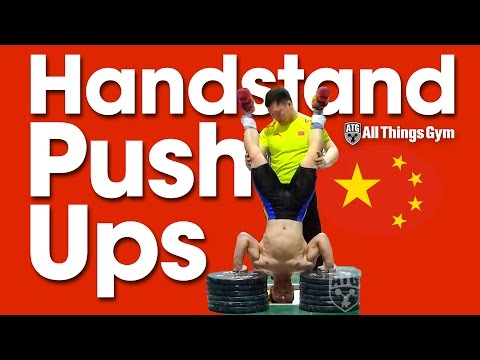 Yuan Chengfei & Zhang Jie (China) Handstand Push Ups  Asian Weightlifting Championships