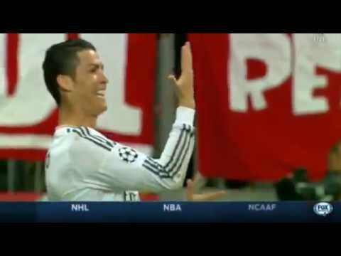 "Cristiano Ronaldo does ""15 goals"" hand celebration v Bayern Munich after goal 2014"