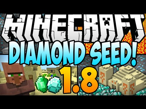 Minecraft 1.8 Seeds - DIAMOND SEED! 16 Diamonds. Temple & Village At Spawn! (Minecraft 1.8) - 2014