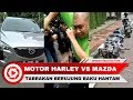 Kecelakaan antara Motor Harley dan Mobil Mazda CX-5, Pengemudi Baku Hantam