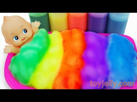 Learn Colors Baby Doll Color Foam Bubble Bath Time Kinder Joy Suprise Eggs Baby Finger Family Song