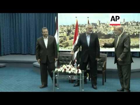 Egyptian Prime Minister Hesham Kandil visits amid intense fighting militants and Israel