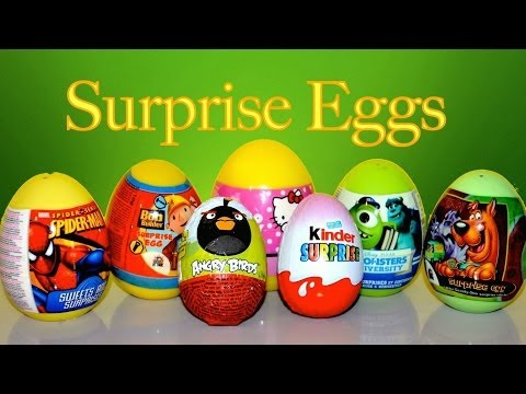Hello Kitty Angry Bird Spider-Man Scooby Doo Kinder Surprise Eggs Unboxing