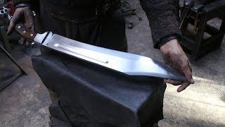 Forging a monstrous Bowie sword.