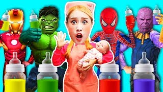 If a baby drinks milk, he/she changes to Super Hero Baby!? Pretend play