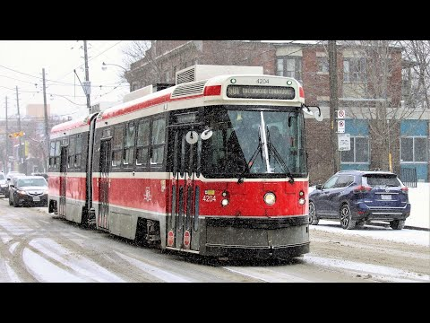 TTC Streetcars during a winter storm - Daytime.  CLRV and ALRV