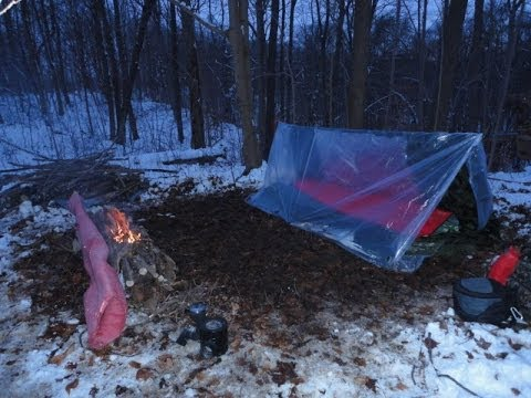 Winter camping in a super shelter.