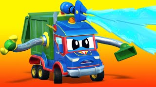 Truck videos for kids -  The bulldozer goes CRAZY! GARBAGE TRUCK cartoon - Super Truck in Car City !