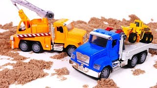 Crane Tow Truck Fire Truck Toy Vehicles for Kids Playing in Kinetic Sand