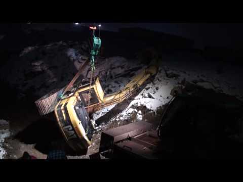 Unfall: Kettenbagger ist umgekippt - Excavator accident near Frankfurt / Germany - Baggerbergung