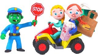 HULK POLICE STOPS FROZEN ELSA & ANNA MOTORBIKE ❤ Spiderman, Hulk & Frozen Play Doh Cartoons For Kids