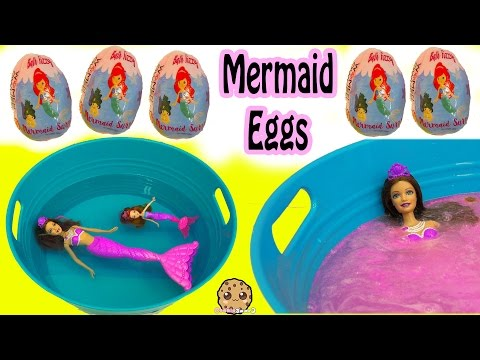 Fizzy Mermaid Surprise Eggs In Water with Barbie Dolls In Mini Pool