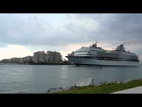 Cruise and Container Ships Departing Port of Miami