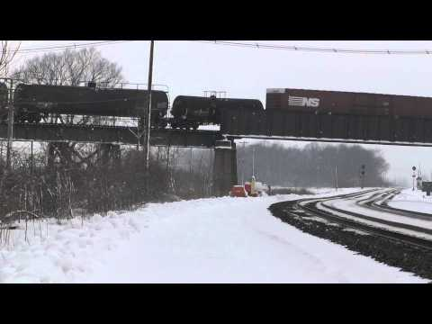 1080p HD - NS Mixed Frieght Crosses the Bridge at Oak Harbor, OH 1/7/13