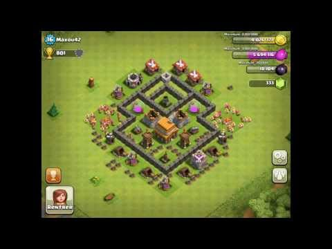 BEST Defense Base For Town Hall Level 4 - Clash Of Clans Defense Strategy
