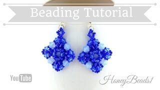 Evening Star Earrings Beading Tutorial by HoneyBeads1 (with superduo beads)