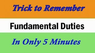 Remember Fundamental Duties  in 5 minutes | Easy Trick
