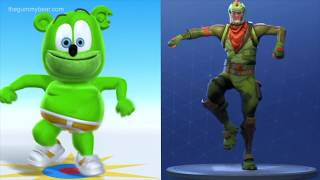 Fortnite Characters Dancing To The Gummy Bear Song MASHUP Gummibär Osito Gominola