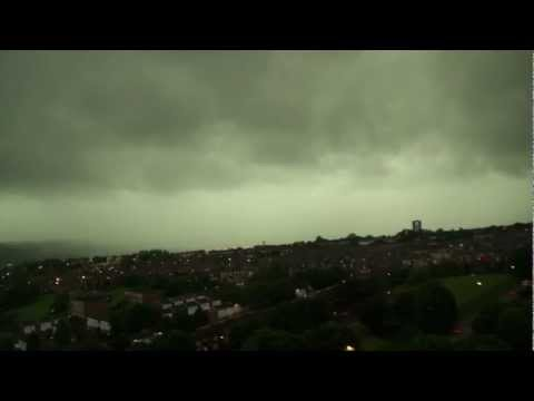 Newcastle June 2012 Summer Storm upon Tyne uk lightning rain and floods storms HD