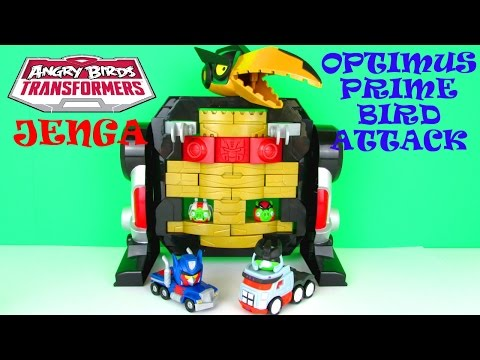 Angry Birds Transformers Jenga: Optimus Prime Bird Attack Game Playset Toy Fun Review, Hasbro