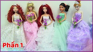 Đồ Chơi Trẻ Em - Đám Cưới 11 công chúa Disney Cùng Lúc  Xem 11 Bộ Váy Cưới Cho Búp bê Cực Đẹp