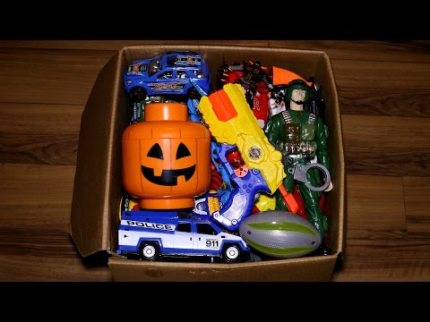 Box with Toys: Action Figures, Cars, Pistols, Kinder Joy and More