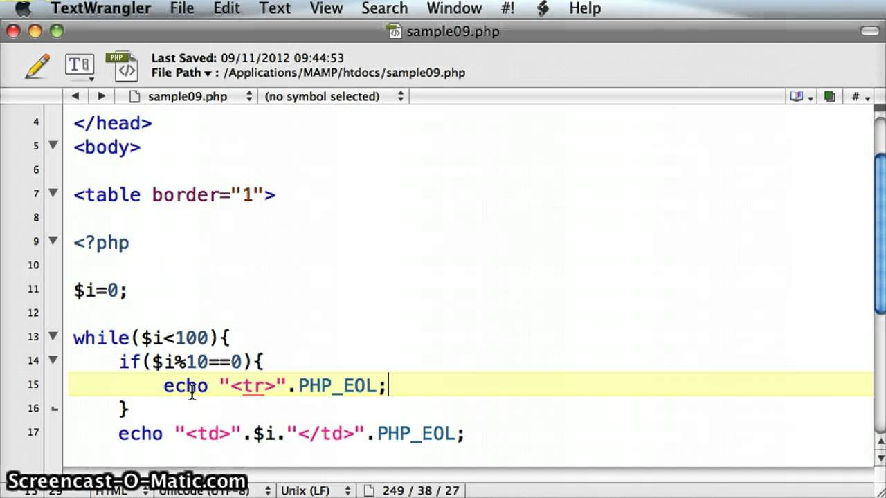 Php create html table with a while loop tutorial 09 3 for 1005 can t create table