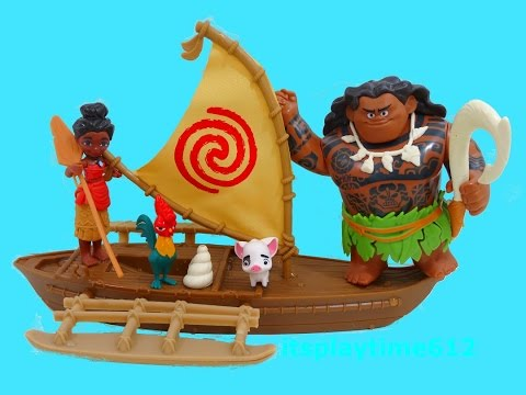 Disney MOANA ADVENTURE CANOE DEMIGOD MAUI Toys Review | itsplaytime612
