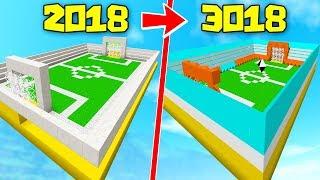 ⚽¿COMO SERA UN ESTADIO DE FUTBOL DE MINECRAFT 1000 AÑOS AL FUTURO? 2018 VS 3018