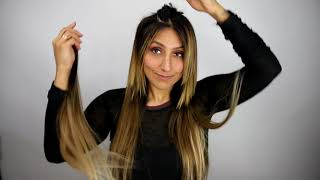 How To Clip In and Blend Freely Clip In Hair Extensions with Short Hair -- Teasing Method