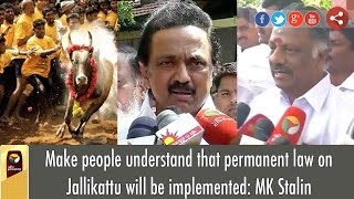Make people understand that permanent law on Jallikattu will be implemented: MK Stalin