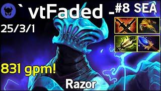 831 gpm! ` vtFaded - plays Razor!!! Dota 2 7.21