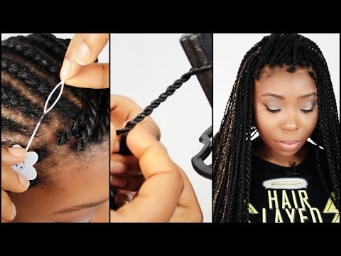 Perimeter Crochet Senegalese Twist Step By Step Tutorial Part 3 of 7 - Installing Pre Made Twists