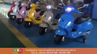 Xe máy điện trẻ em Vespa LX125 (Kiểu dáng xe Piagio Vespa thanh lịch, BH 1 năm)