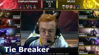 FPX vs SPY - tie breaker | Day 5 S9 LoL Worlds 2019 Group Stage | FunPlus Phoenix vs Splyce