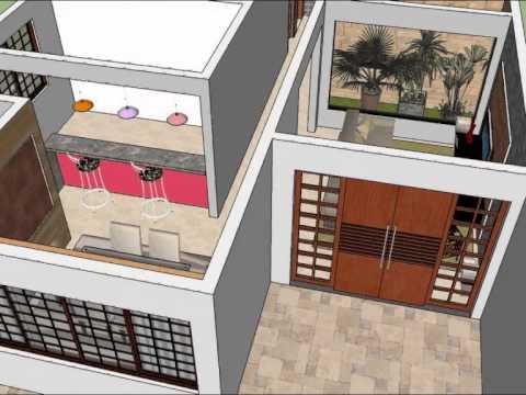 Projeto casa com 3 quartos sketchup youtube for Jardins mangueiral planta 3 quartos