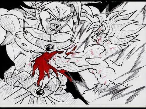 Goku Fights Broly How to Draw Broly vs Goku