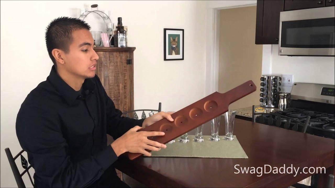 Wood Beer Flight Sampler Paddle SwagDaddy YouTube
