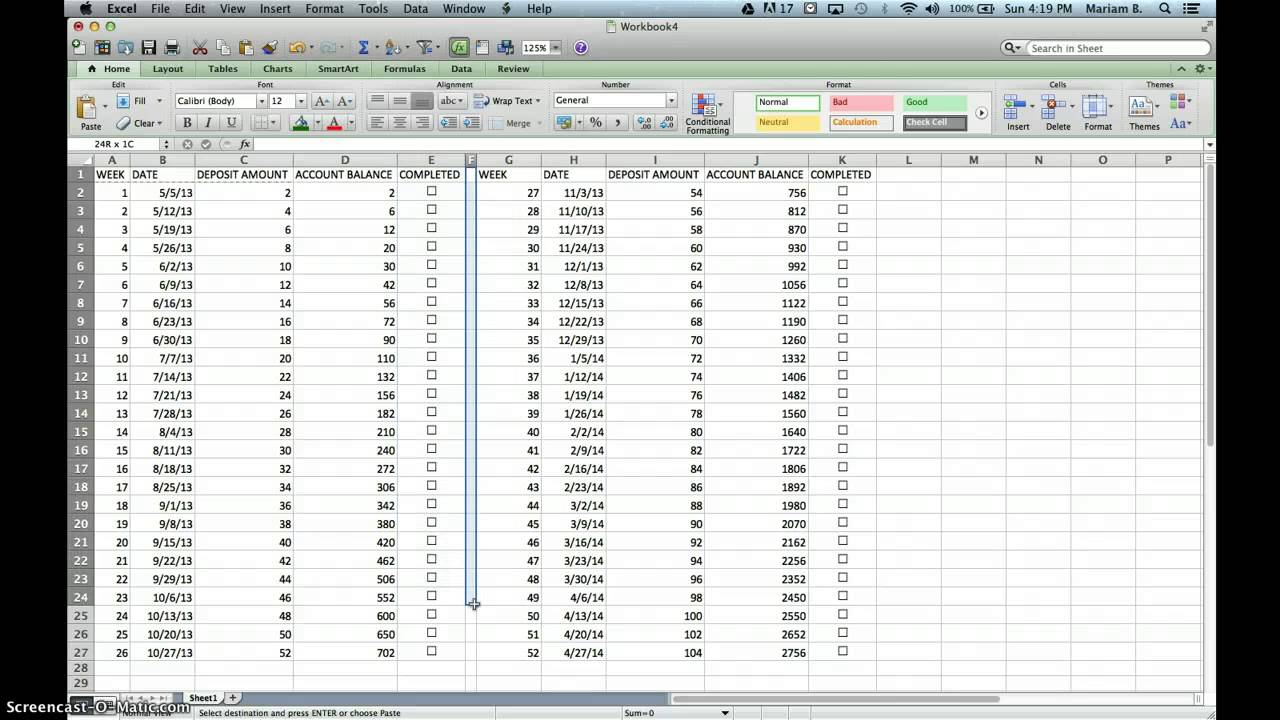 52 week money challenge excel spreadsheet calendar for 52 time table