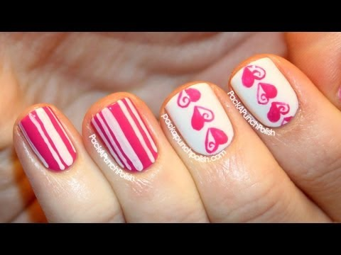Hearts & Stripes Valentines Day Nail Art Tutorial