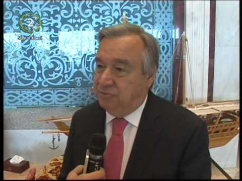 UN High Commissioner for Refugees António Guterres hails Kuwait's role in supporting Palestinians
