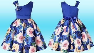 DIY Designer One Strap One Shoulder Box Pleated Baby Frock Full Tutorial