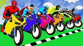 Motos Coloridas para Crianças - APRENDER CORES - Super Heroes Cartoon