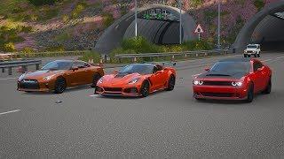 Forza Horizon 4 Drag race: Corvette C7 Zr1 2019 vs Dodge Challenger SRT Demon vs Nissan GTR 2017