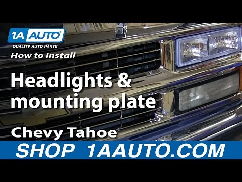 How To Install Replace Headlights and mounting plate 1996-99 Chevy Tahoe Suburban C1500 K1500