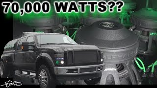 """70,000 Watts? the Alphard Ford F-350 Dually (12) 15"""" Subwoofers 25 Speakers in each door!"""