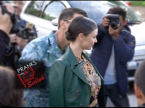 Vitalii Sediuk Kisses Miranda Kerr at Louis Vuitton in Paris