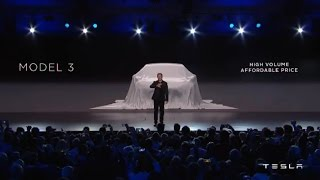 Elon Musk unveils Tesla Model 3 at Tesla Model 3 event