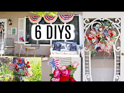 💖6 DIY DOLLAR TREE PATRIOTIC 4TH OF JULY DECOR CRAFTS 💖SUMMER FRONT PORCH DECO MESH WREATH, BANNER
